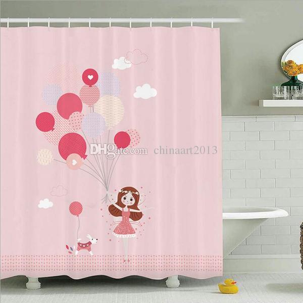 Atacado romântico dos desenhos animados tecido impermeável banheiro cortina de chuveiro de moda casa de banho decoração presente com 12 ganchos
