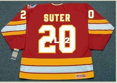 Mens #20 GARY SUTER Calgary Flames 1989 CCM Vintage Retro Away Hockey Jersey or custom any name or number retro Jersey