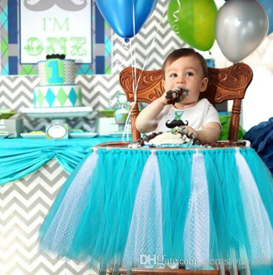 Cute Baby Shower High Chair Decoration Blue Baby 1st Birthday Party Supplies Table Skirt Glitter Tutu Chair Skirt