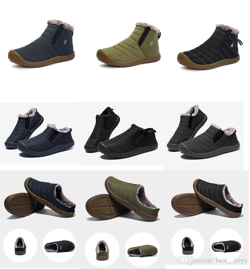 Homme Hiver Neige Bottines Chaussures Non-Slip Slip On Fermeture Éclair Extérieur chaude doublure en fourrure