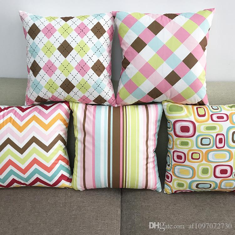New Multicolor 5 Designs Pillowcase Soft Fleece Multicolored Geometric Pattern Series Pillow Case Sofa Cushion Cover Car Lumbar Pillow Cover