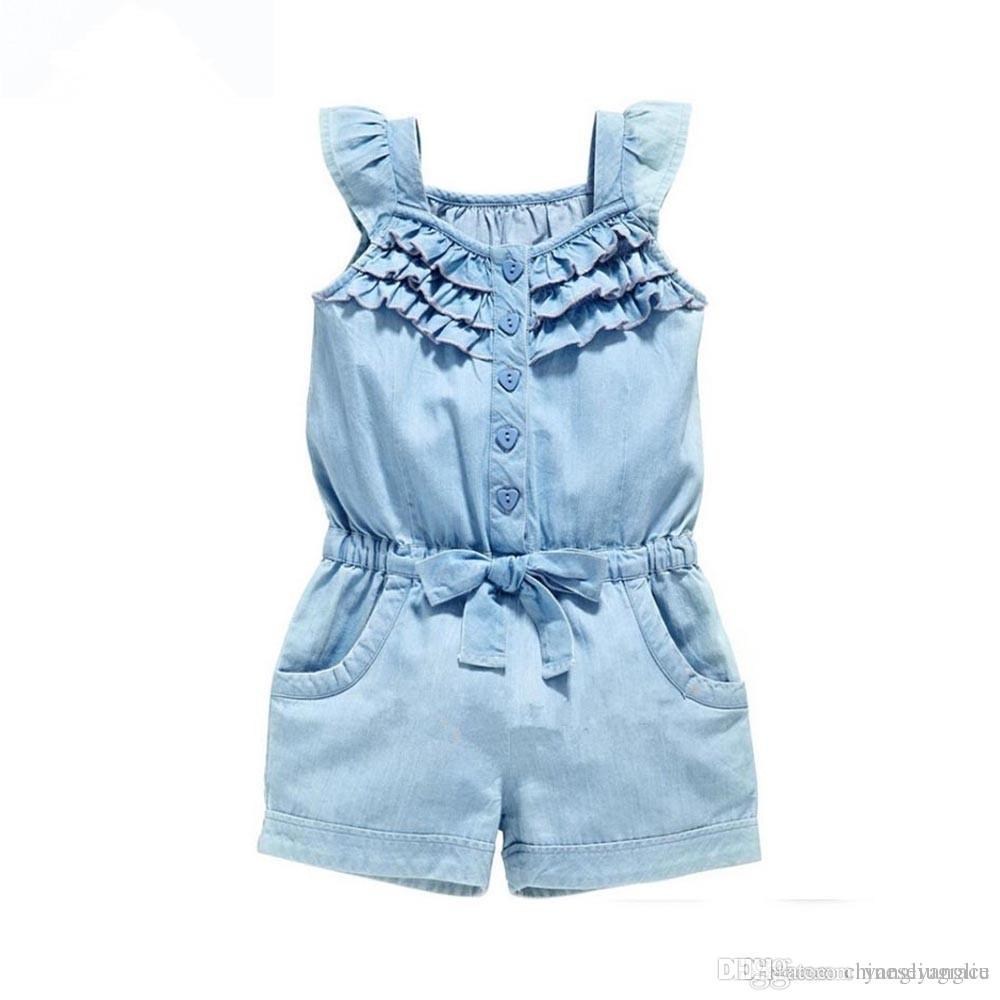 57568e97c03 Denim Blue Girl Dungarees Overalls Summer Baby Clothes Wash Jeans  Sleeveless Bow-Knot Gilrs Jumpsuit Suspenders Pants Cotton Rompers