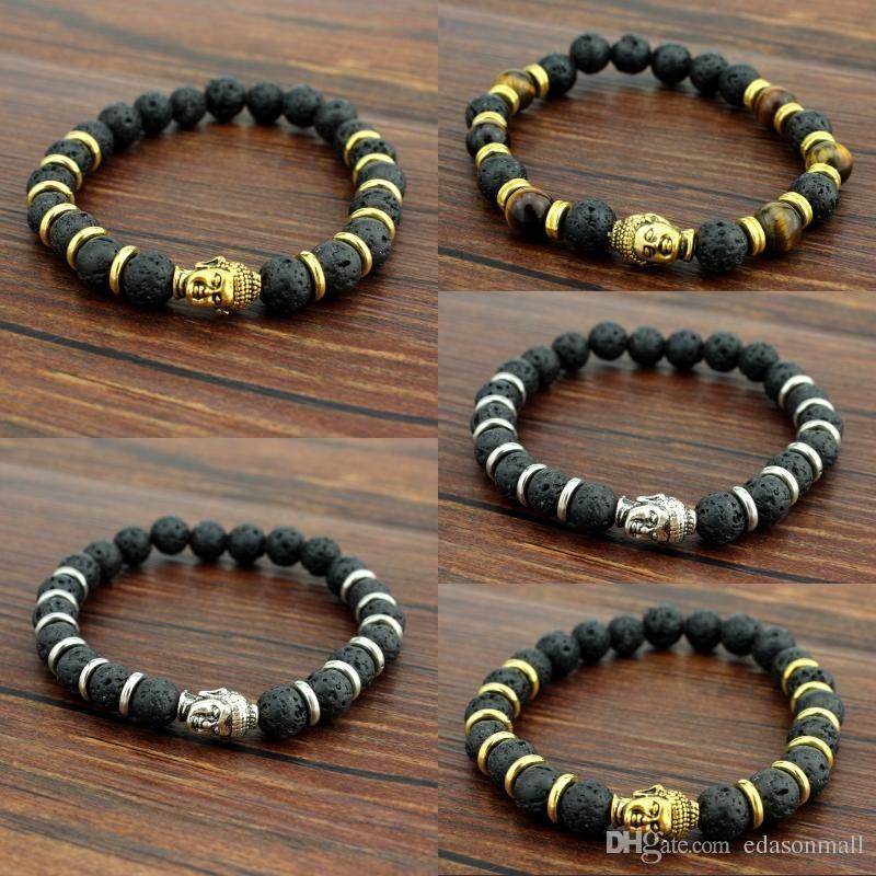 8mm Natural Lava Rock Stone Bracelet For Men Women Yoga Beaded Charms Bangle 3 Styles Mala Elastic Bracelets Best Christmas Gift B334S F