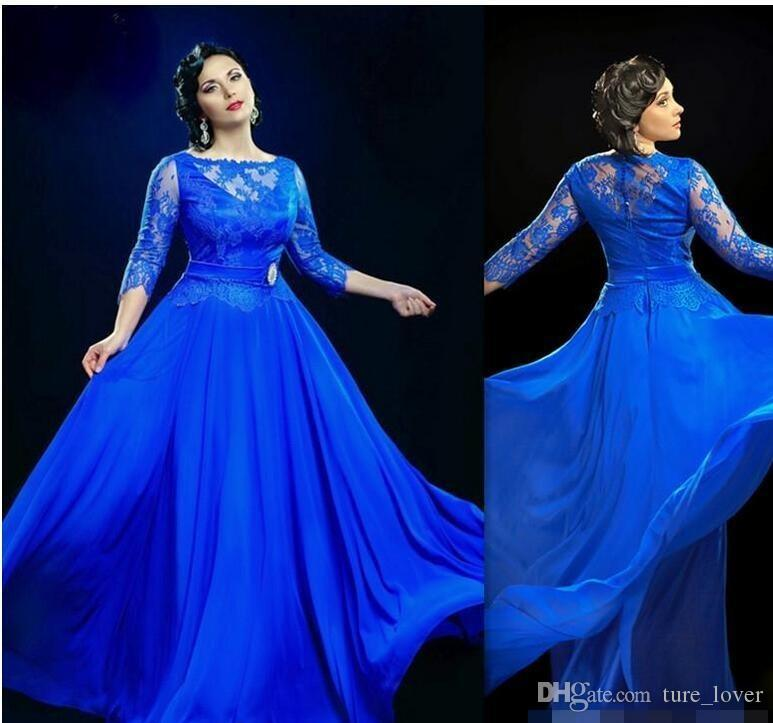 Abiti da sera trasparenti eleganti blu royal di design con abiti da ballo lunghi a maniche a 3/4 Abiti da ballo plus size UK per donne grasse