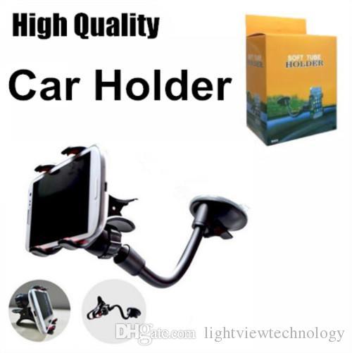 부드러운 튜브 자동차 마운트 범용 앞 유리 대시 보드 휴대 전화 자동차 홀더 360 회전 자동차 홀더 강한 흡입 컵 X 클램프