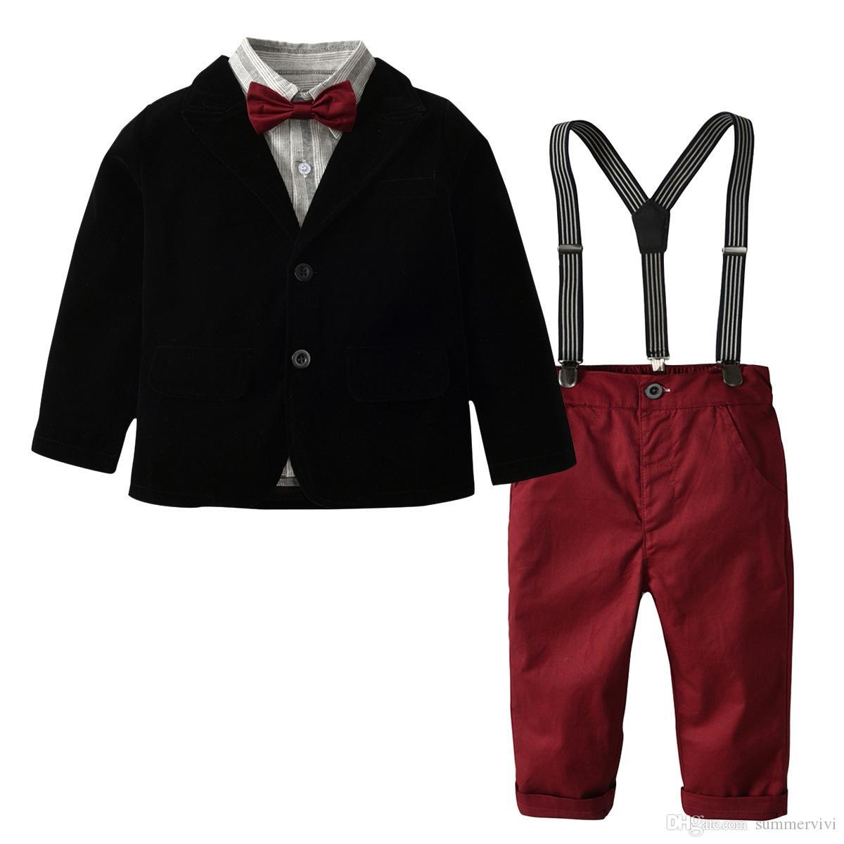 أزياء الأولاد ملابس الاطفال شريطية التلبيب كم طويل قميص + الحلل أبلى + حمالة السراويل + الانحناء التعادل 4 قطع مجموعات الأطفال شهم مجموعات Y5399