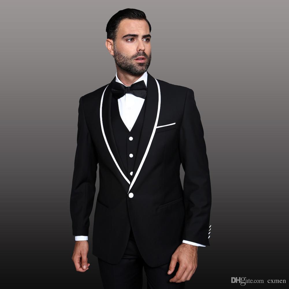 Custom Made Black Ternos De Casamento para Homens Branco Xale Lapela Bonito Noivo Smoking Smoking Slim Fit Homens Blazer 3 Peças jaqueta + Calça + colete