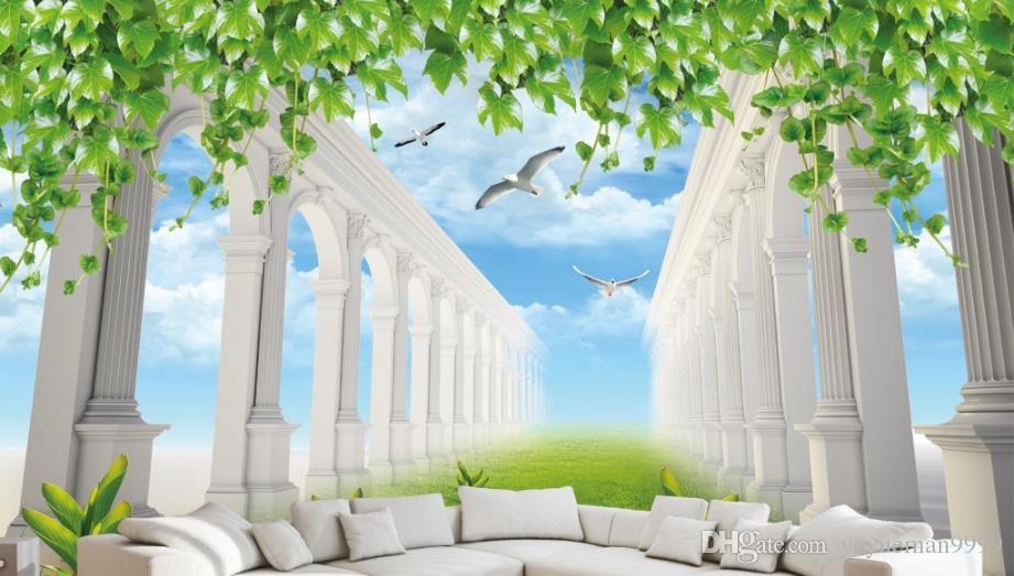 Papel tapiz fotográfico 3D personalizado Nubes blancas papel tapiz de paisaje para paredes 3 d sala de estar sofá TV telón de fondo papeles de pared decoración para el hogar