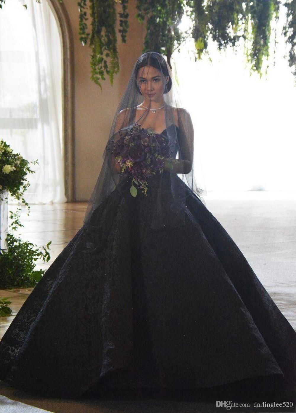 Compre Vestido De Novia Negro Vestido De Novia Vestido De Novia Sin Mangas Barrido Del Tren Perlas De Encaje Apliques Vestido De Novia Dubai áfrica