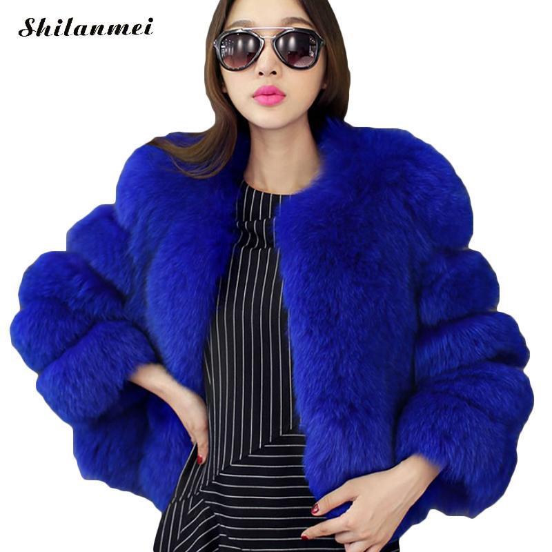 Acheter Manteaux De Fourrure De Couleur Blanc Bleu Manteau En Fausse Fourrure Femmes Veste D'hiver Noir Bleu Manteau De Fourrure Court Manteaux En