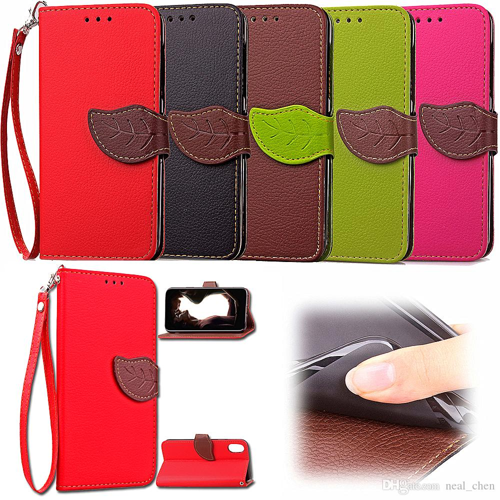 Premium Leaf PU Leather Flip Fold Wallet Case with [ID&Credit Card Slot] for Apple iTouch iPhone 5 5S 6 6S 7 8 Plus X XR XS Max