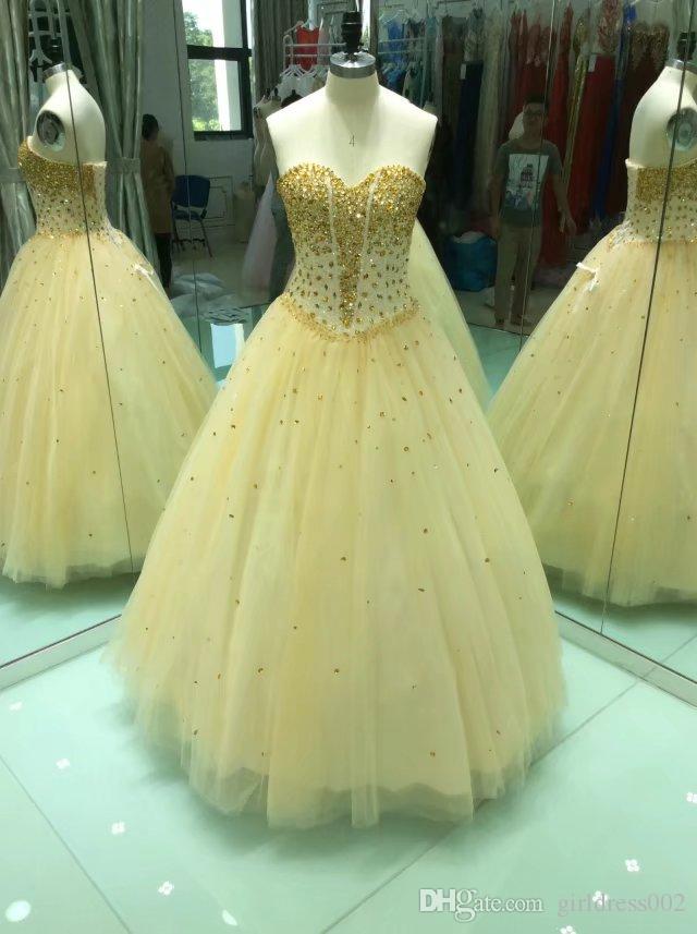 Vestidos De Noiva Preços 2018 Novo Estilo Amarelo Tulle Frisado Quinceanera Vestidos De Noiva Longo Vestido De Baile Tamanho Do Vestido De Baile