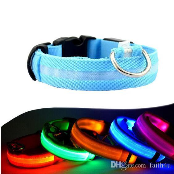 LED Nylon Dog Collar Dog Cat Harness Flashing Light Up Night Safety Pet Collars 8 Color XS-XL Size Christmas Accessories