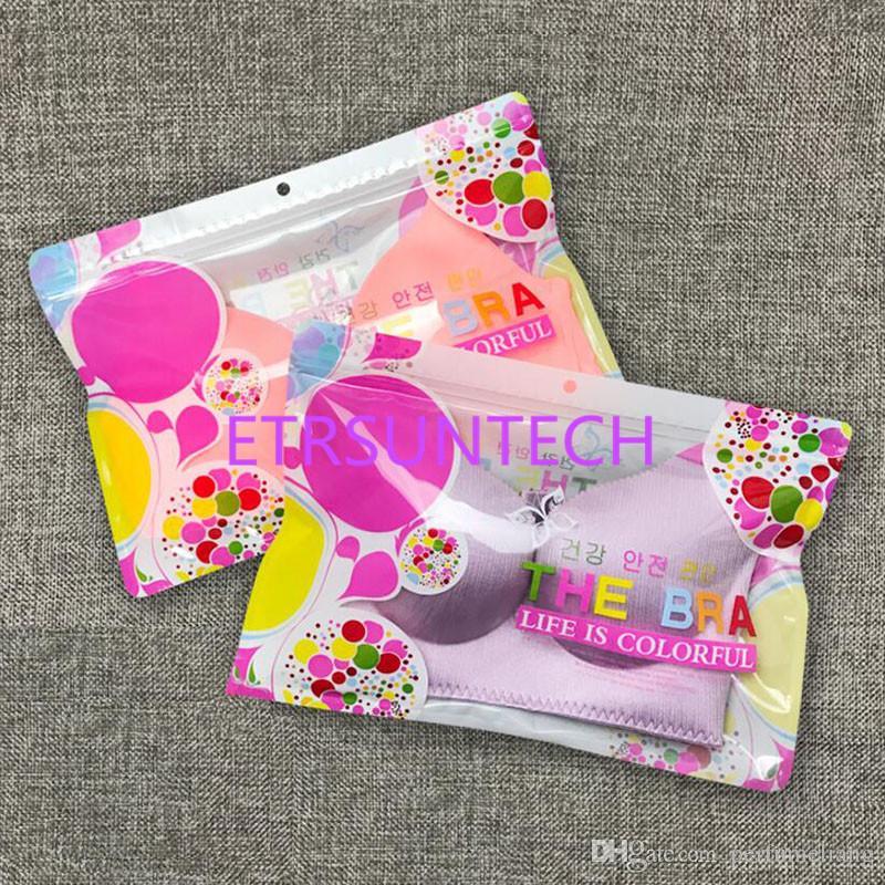 Flor rosa de plástico sujetador de la ropa interior de empaquetado Bolsa tienda al por menor Sujetador Lingeire bolsa de almacenamiento con agujero para colgar QW7844