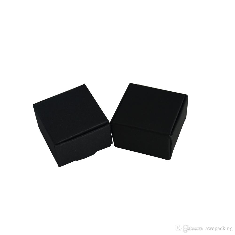 4*4*2.5cm 50Pcs/Lot Small Black Handmade Soap Storage Boxes Kraft Paper Jewelry Packaging Box Blank Wedding Gift Box For Party DIY Craft