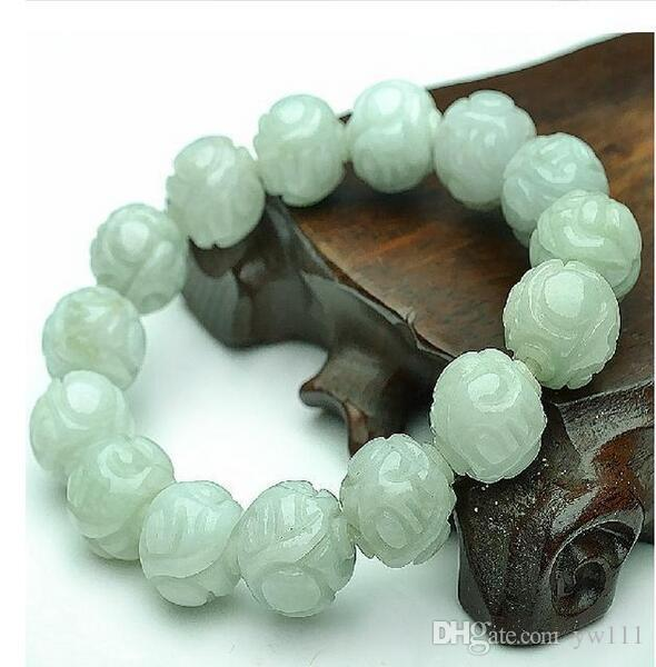 ength: 20cmA cargo of natural jade beads jade bracelet male and female models Lotus Pearl sub 13mm Burma jade beads with a certificate
