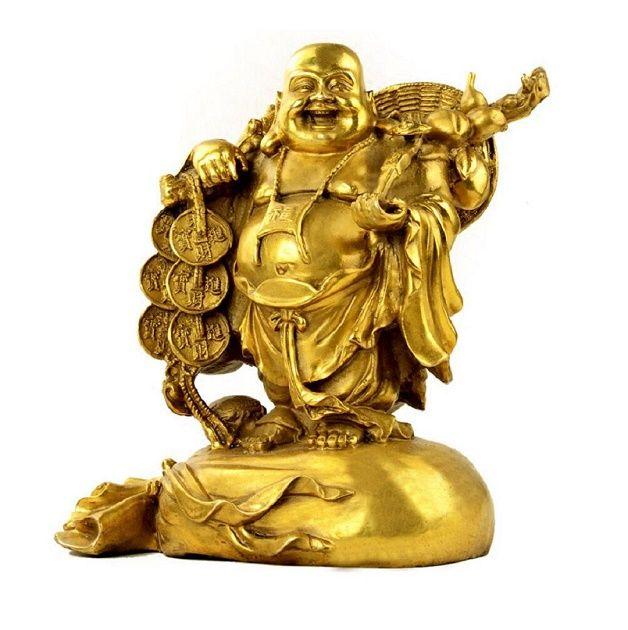 Statue di Buddha Fengshui Prodotti Decor per la casa, Ottone Laughing Buddha Maitreya figurine e Sculture Decorazione Desk per buona fortuna