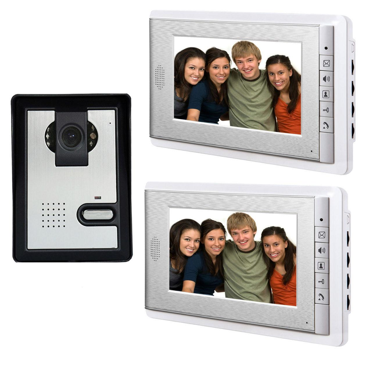 7 Inch Video Door Phone Doorbell Intercom System Night Vision Camera Video Door Bell Video Doorphone Intercom 2-Monitor Kit