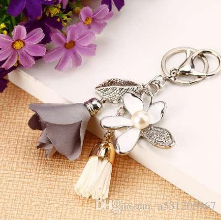 Portachiavi fiore di stoffa Catene chiave dell'automobile della nappa in chiffon Coppie della signora bag ornamenti portachiavi di ornamenti di fiore di fascino di modo creativo
