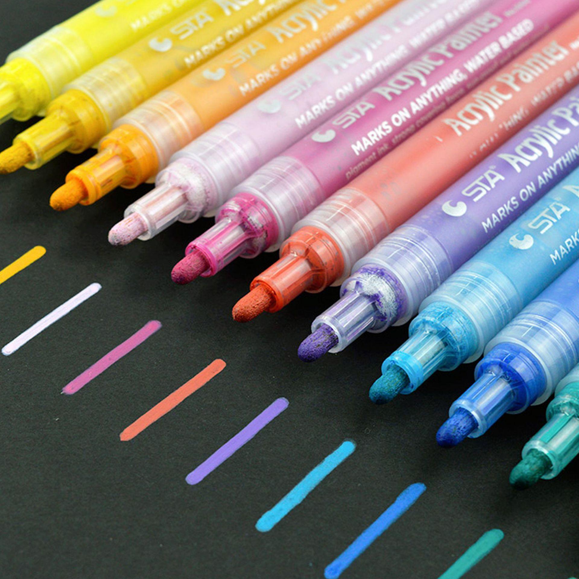 12 couleurs acrylique peinture marqueur stylos peinture permanente stylo art marqueurs fixé pour papier verre métal toile toile tissu en céramique peinture bricolage artisanat