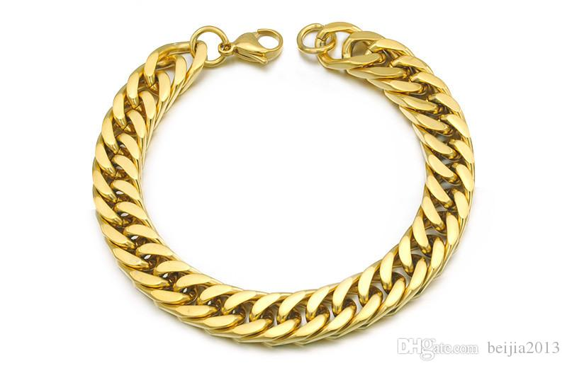 "Gold Plated Stainless Steel Bracelets Curb Cuban Chain Mens Jewellery Fashion, 8.7"" long,10mm wide,Wholesale Free Shipping,WB003"