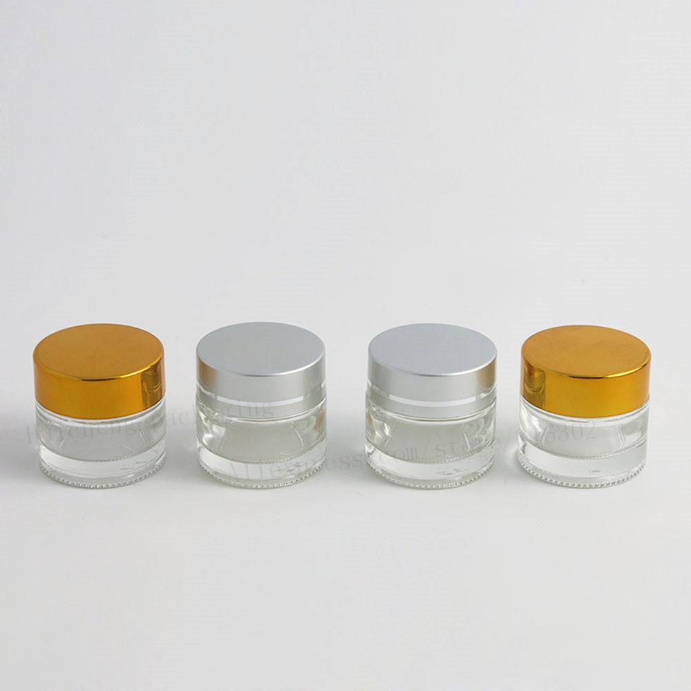 200 x 10g Mini Seyahat Yüz Kremi Cam Kavanoz 1 / 3oz Kozmetik Makyaj Numune Konteyner Emülsiyon Doldurulabilir Pot Gümüş Altın Kapak
