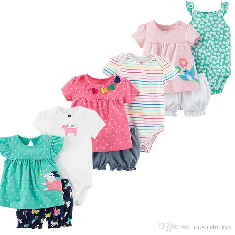 2018 Été Bébé Filles Vêtements Ensembles Polka Dot roupas menina Vêtements + Nouveau-nés Barboteuses + Pantalon 3 Pièce Enfant En Bas Âge Costumes