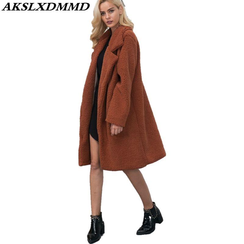 2018 Nuove donne autunno inverno Faux Fur Coat Fashion Casual Temperamento Slim lungo cappotto Capispalla Solid Warm Winter Jacket CW034