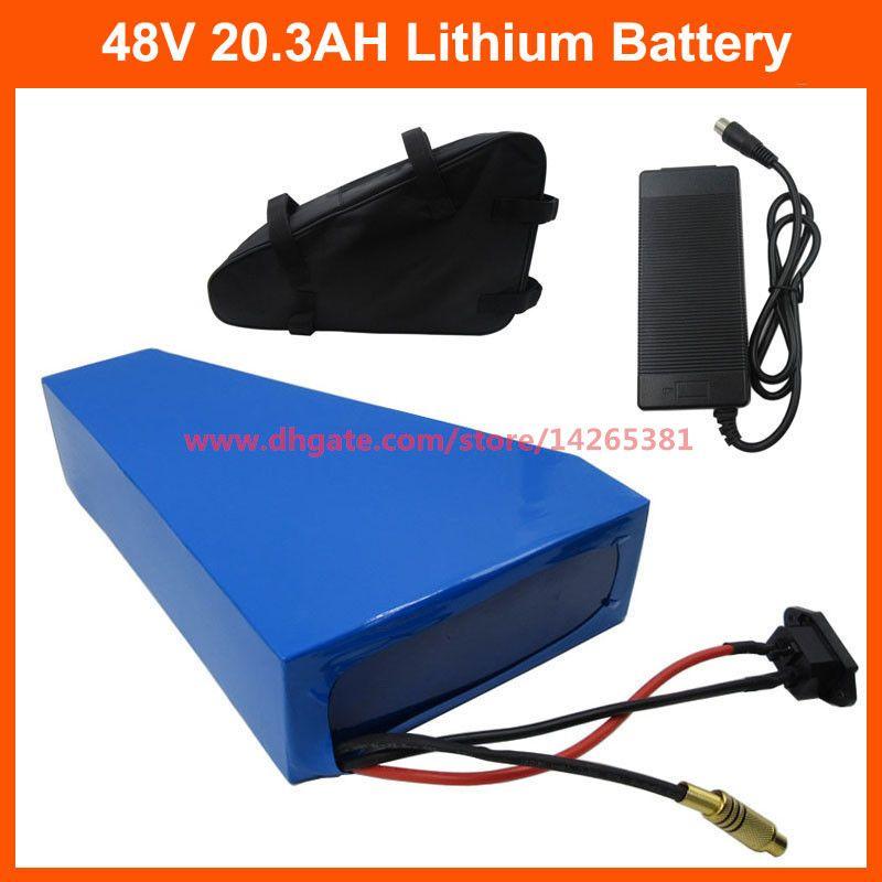 عالية الجودة 1000W 48V 20.3AH 20AH دراجة كهربائية بطارية 48V مثلث استخدام بطارية ليثيوم NCR PF خلية 2900mah حقيبة 30A BMS الحرة