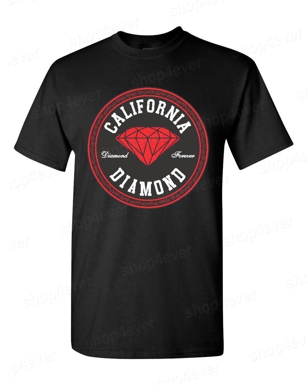 Califórnia Estilo Rodada Diamante Camiseta Lembrança Cali Diamante Para Sempre Moda Tee