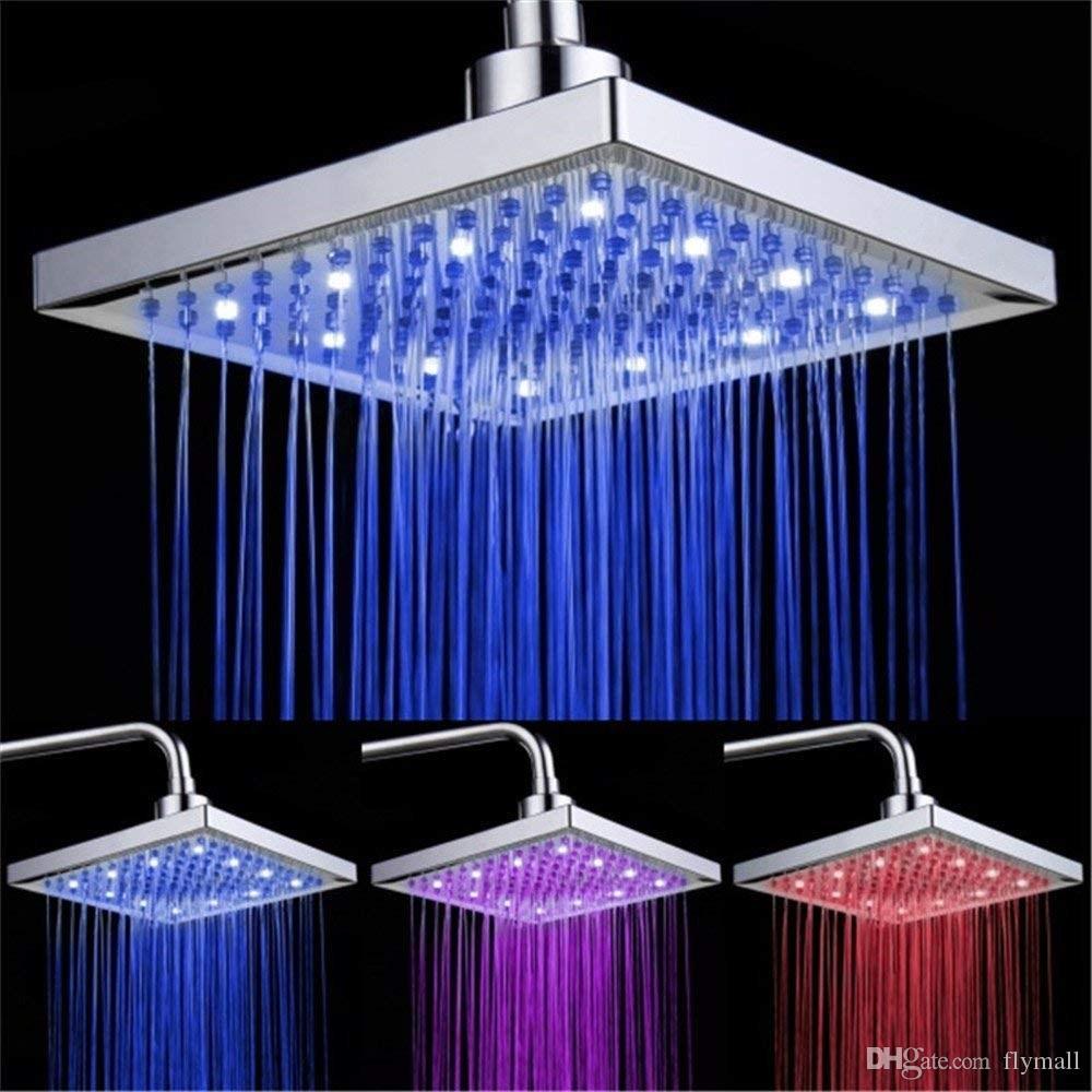 LED 샤워 헤드 온도 3 색 변경 8 인치 스퀘어 ABS 크롬 마감 12 LED 욕실 목욕 샤워 헤드