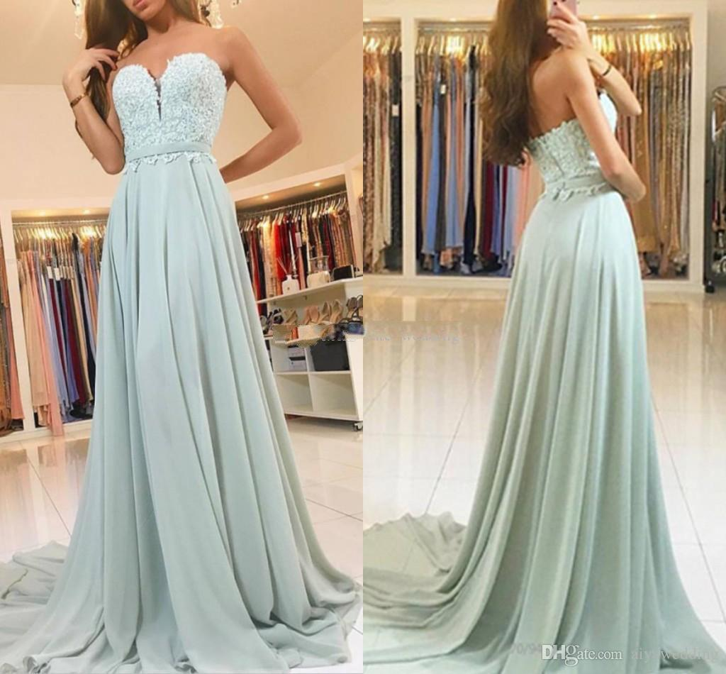 Sage Mint Chiffon Lace Prom Dresses Sweetheart Ribbon Sash Custom Backless Evening Dresses Long Party Dresses Sweep Train Free Shipping