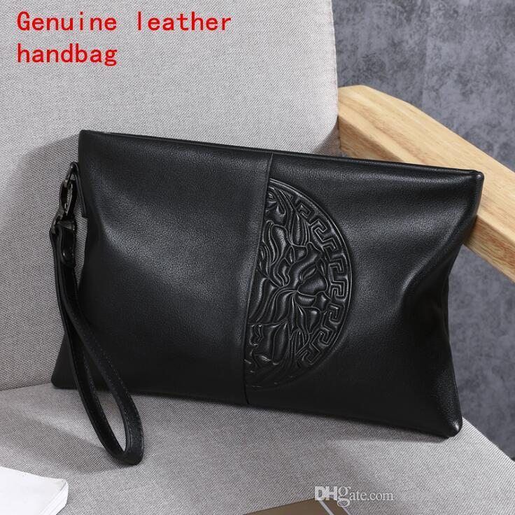 Factory brand men Bag Fashion Leather Men large capacity hand Baotou layer cowhide embossed wallet soft leather men's hand bag
