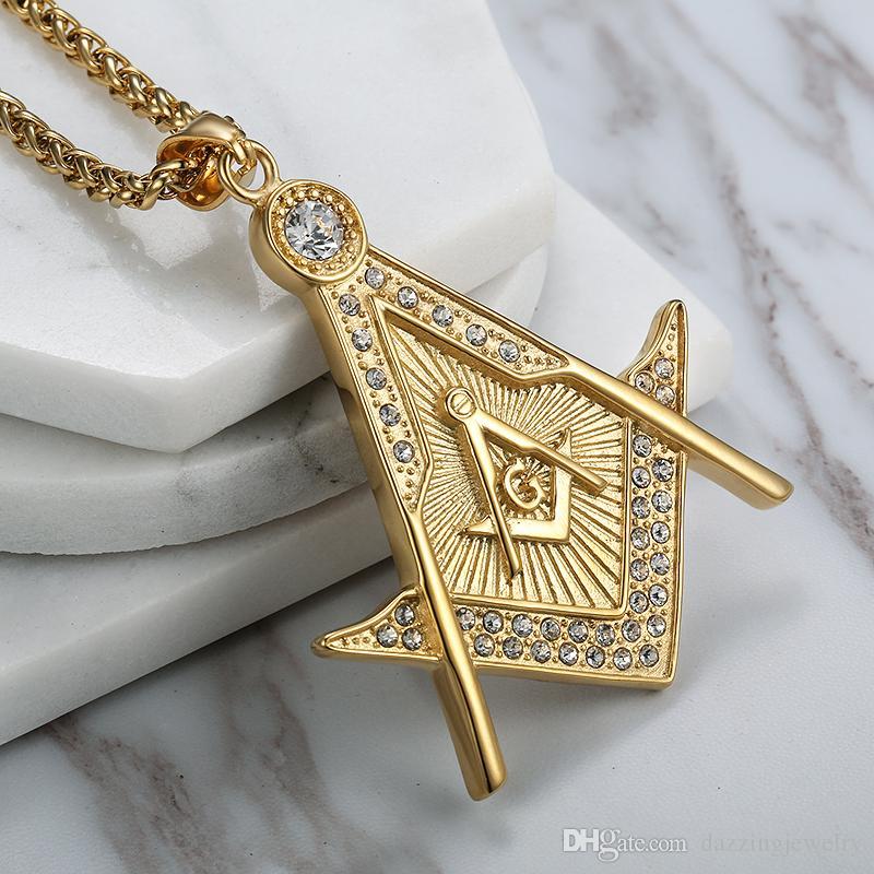Ciondolo massonico massone religioso in acciaio inossidabile di alta qualità in acciaio inossidabile 316 emblema massone libero gioielli con collana pendente AG con pietre di cristallo