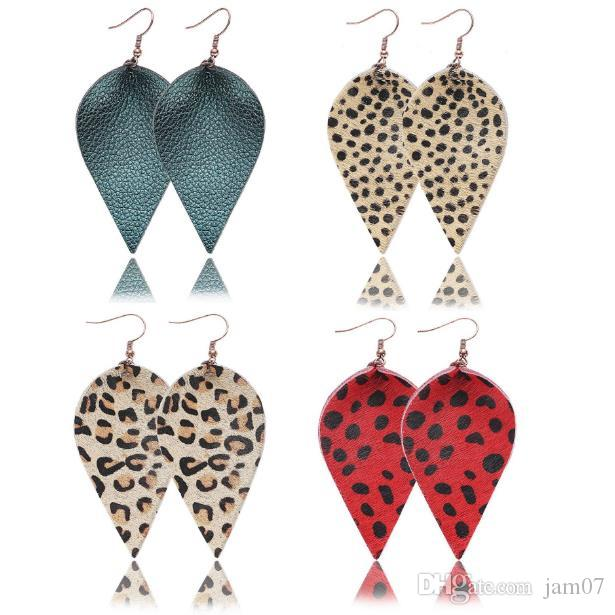 Charm Vintage Leather Earrings Autumn And Winter Leaves Genuine Fashion Original Pendant Women Style National 6.2x3.5