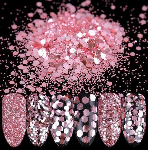 1 Caja 10ml rosa rosa de clavo del polvo del brillo de las lentejuelas de 1 mm 2 mm 3 mm de Paillette de manicura Nail Art Decoración