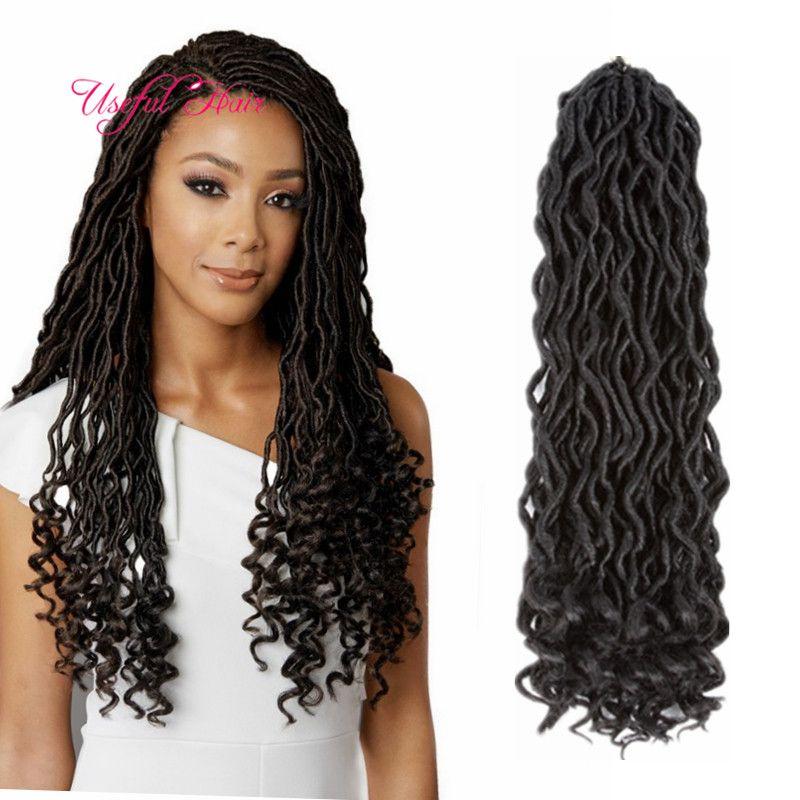 GODDESS 합성 머리카락 여신 locs 가짜 Locis 곱슬 머리 18 인치 크로 셰 뜨개질 Braids 합성 머리 확장을위한 블랙 여성