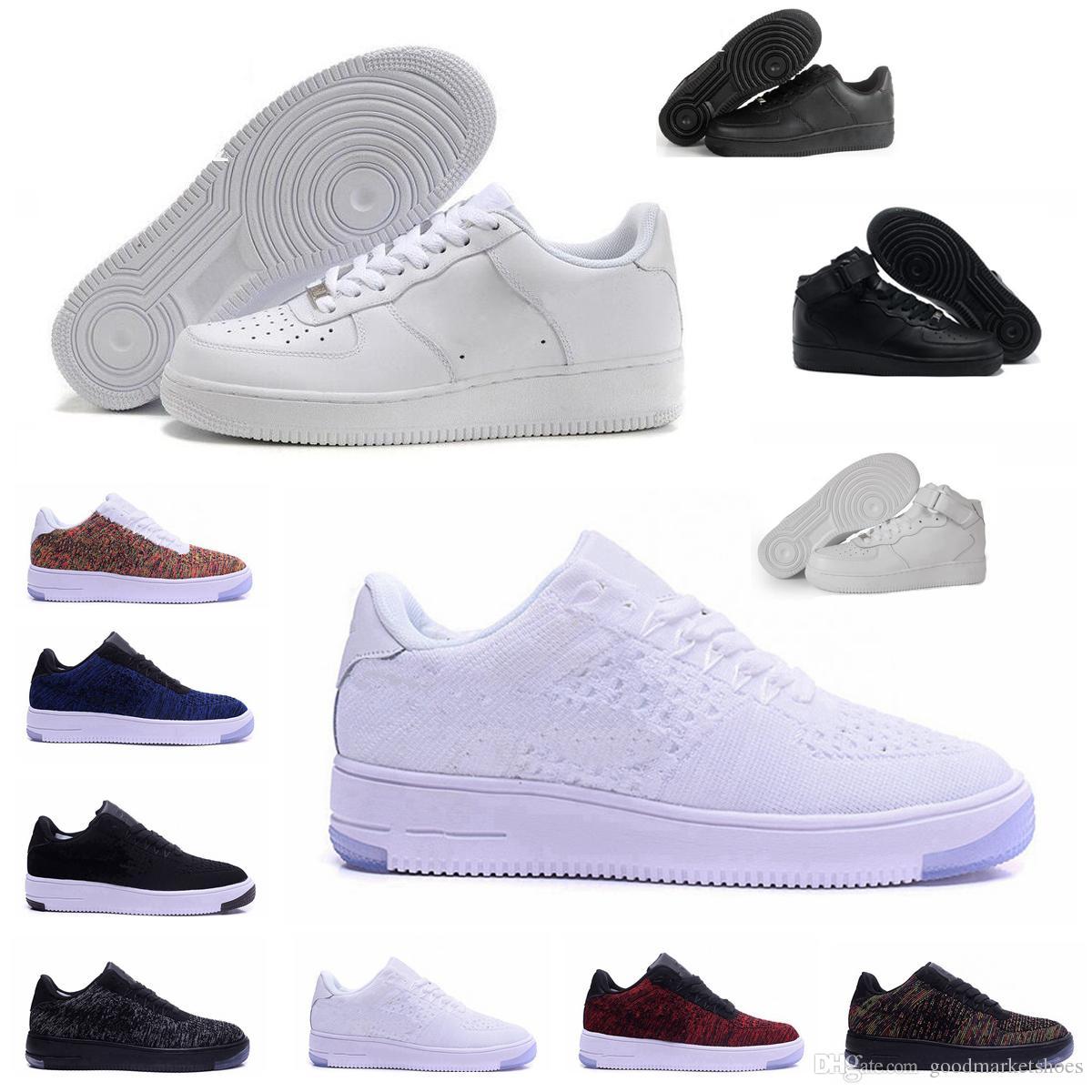 2018 أعلى جودة الرجال الموضة الجديدة عالية أعلى أحذية بيضاء لوفت عارضة الأسود الحب للجنسين واحد 1 الحرة الشحن يورو 36-45