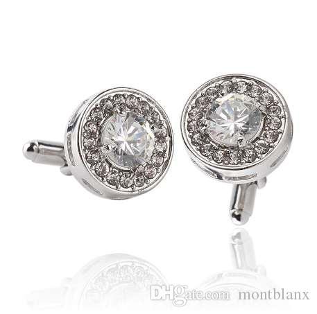 Gemelos redondos para hombres Joyería de boda Personalidad de la moda Clásico Retro Lujo Rhinestone Gemelos de plata Regalos de Navidad