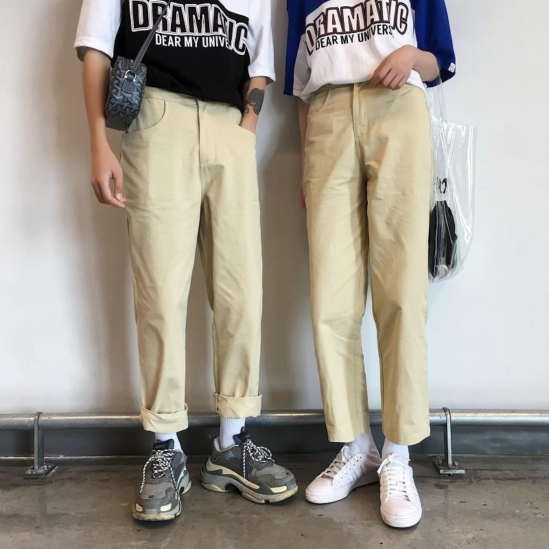 Fashion Casual Men's Straight Pants All Seasons New M-XL Cotton Solid Color Loose Pants Khaki Personality Youth Popular