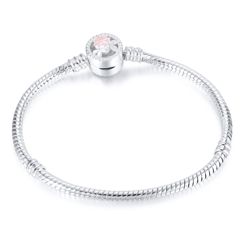1 stücke Blume Silber Überzogene Armbänder Schlangenkette Fit Charme Perlen für pandora Armreif Frauen Mädchen Geschenke BR010