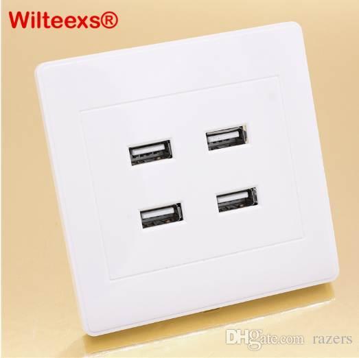 WILTEEXS DC 4 Portas USB 5 V 3.1A Carregador De Parede Elétrico Dock Station Tomada Placa de Tomada de Alimentação do Plugue Da Placa do Painel de Plugue adaptador