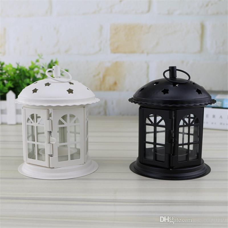 New Glass Candle Holder Iron art style Lantern Retro Home Wedding Decoration birthday gift free shipping