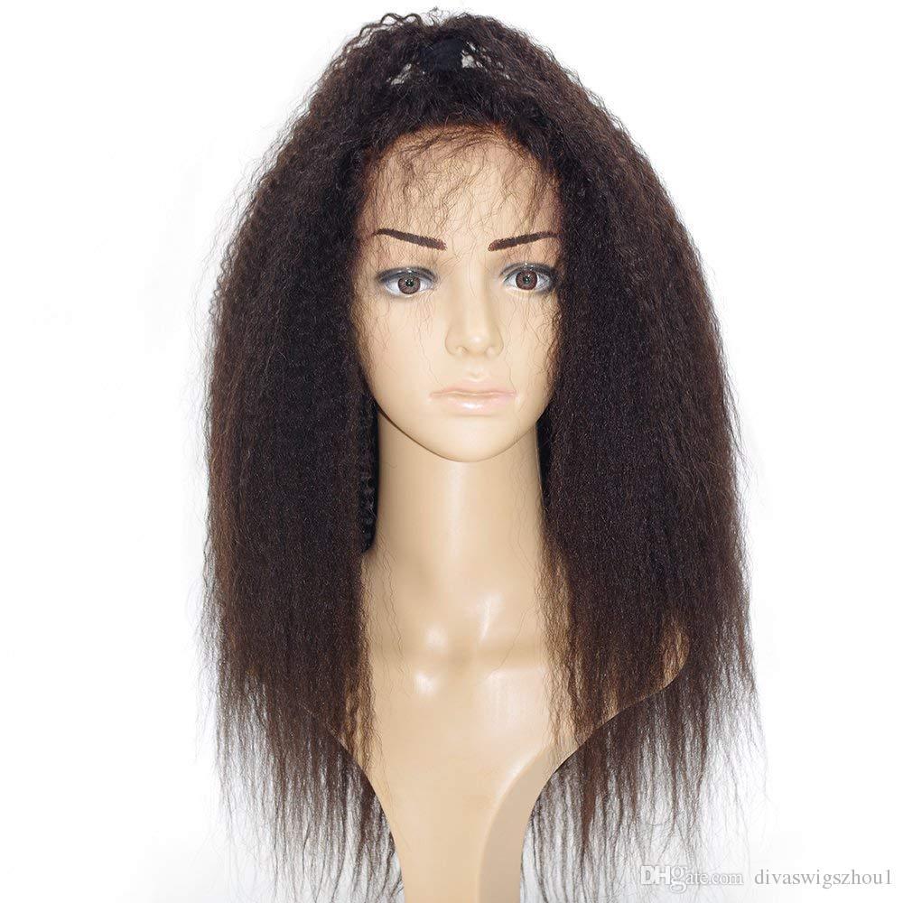 Yaki italiano Pre Plucked 360 Lace Frontal Pelucas Glueless 360 Full Lace Pelucas de cabello humano para las mujeres Frente de encaje Pelucas de cabello humano Kinky