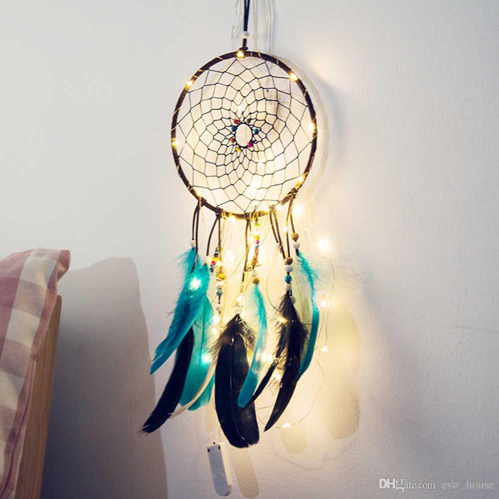 Wholesale Handmade LED Light Dream Catcher Feather Hanging Pendant For Car Home