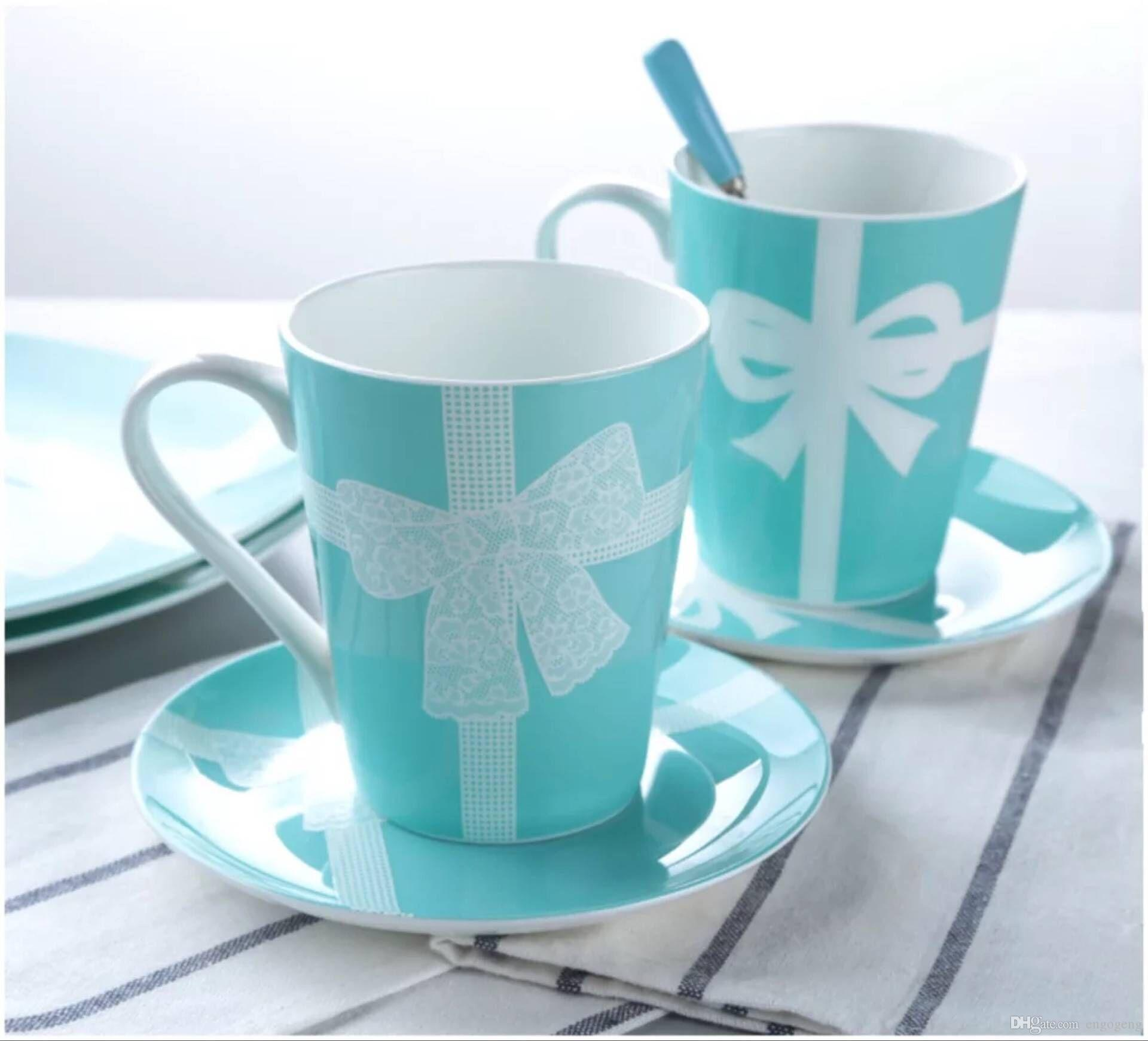 Классические кружева серии синие керамические чашки синие кружки Drinkware чашки кофе молока свадебные подарки хорошего качества
