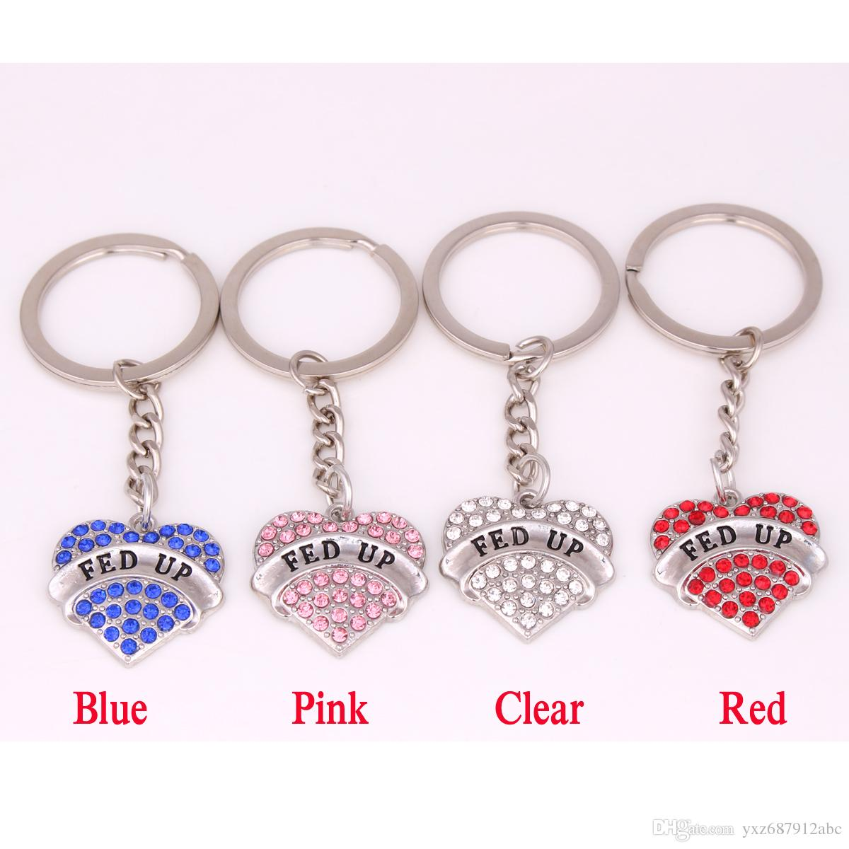 Apricot Fu Hot Seling FED UP Studded With Sparkling Crystals Heart Charm Pendent Key Chain Jewelry