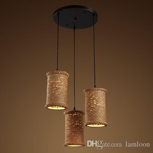 Loft retro industrial led lámparas colgantes lámparas para cafetería bar club hotel decoración colgante de iluminación de cáñamo cuerda colgante luces