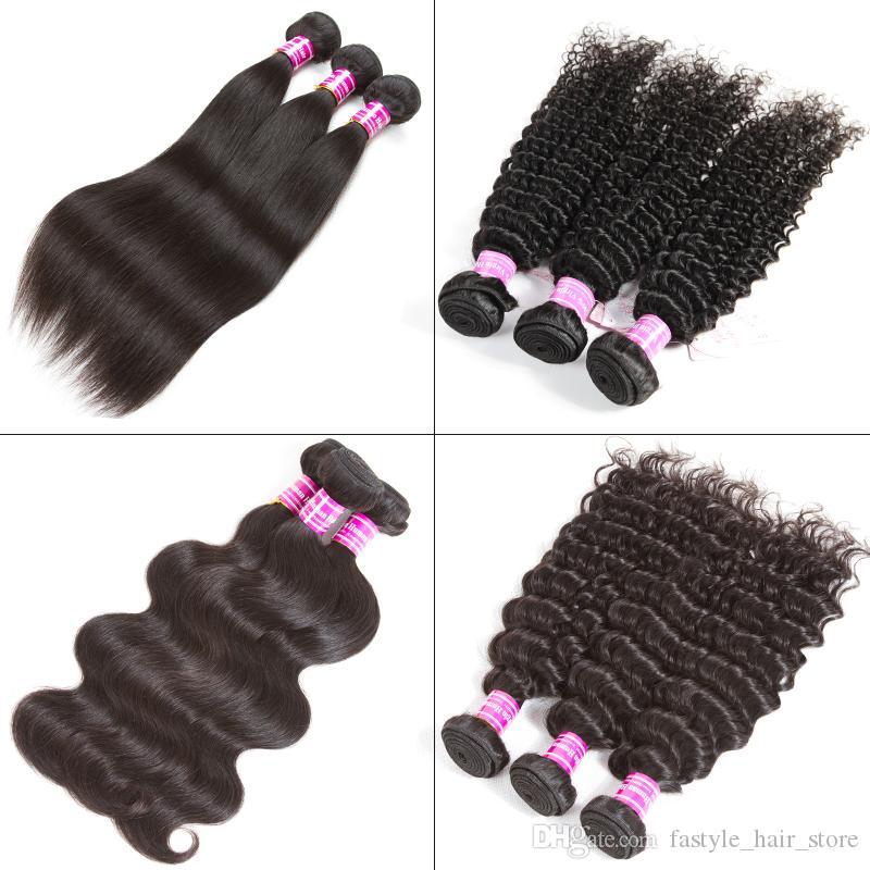 페루 스트레이트 인간의 머리카락 묶여 처리되지 않은 브라질 버진 바디 깊은 물 파도 인간의 머리카락이 꼬인 곱슬 곱슬 인간의 머리카락 확장