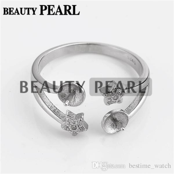 HOPEARL Jewelry Two Star Ring Base with 2 Blanks 925 Silver Pearl Jewellery Making 3 Pieces